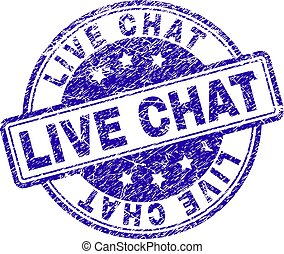 LIVE CHAT stamp seal imprint with grunge texture. Designed with rounded rectangles and circles. Blue vector rubber print of LIVE CHAT title with grunge texture.