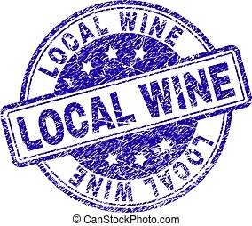 Grunge Textured LOCAL WINE Stamp Seal