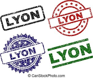 Grunge Textured LYON Seal Stamps - LYON seal imprints with...