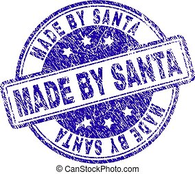 Grunge Textured MADE BY SANTA Stamp Seal