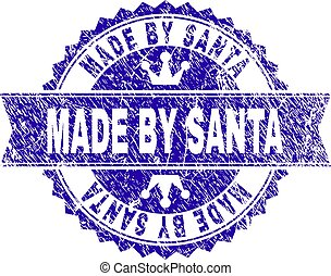 Grunge Textured MADE BY SANTA Stamp Seal with Ribbon