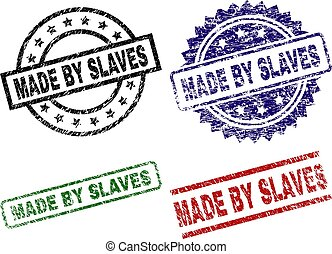 Grunge Textured MADE BY SLAVES Seal Stamps