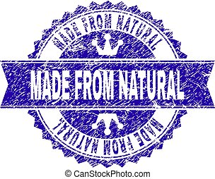 Grunge Textured MADE FROM NATURAL Stamp Seal with Ribbon