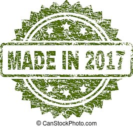 Grunge Textured MADE IN 2017 Stamp Seal