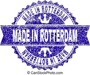 Grunge Textured MADE IN ROTTERDAM Stamp Seal with Ribbon