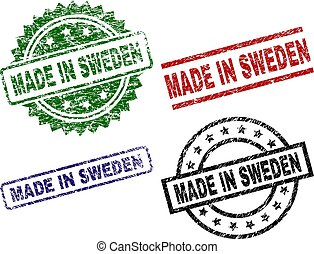 Grunge Textured MADE IN SWEDEN Seal Stamps