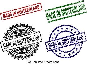 Grunge Textured MADE IN SWITZERLAND Seal Stamps