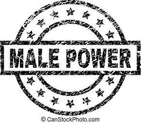 Grunge Textured MALE POWER Stamp Seal - MALE POWER stamp...