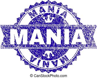Grunge Textured MANIA Stamp Seal with Ribbon - MANIA rosette...