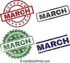 Grunge Textured MARCH Stamp Seals