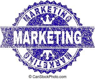 Grunge Textured MARKETING Stamp Seal with Ribbon