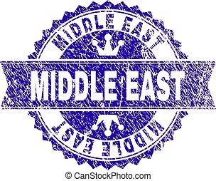 Grunge Textured MIDDLE EAST Stamp Seal with Ribbon