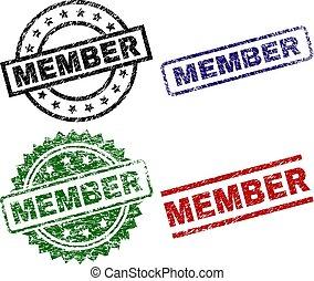 grunge, textured, miembro, sello, sellos