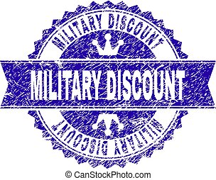 Grunge Textured MILITARY DISCOUNT Stamp Seal with Ribbon