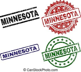 Grunge Textured MINNESOTA Seal Stamps