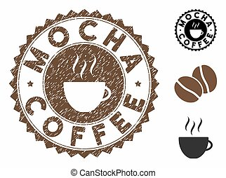 Grunge Textured Mocha Coffee Stamp Seal with Coffee Cup