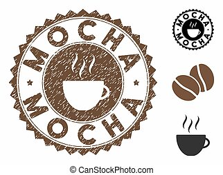 Grunge Textured Mocha Stamp Seal with Coffee Cup