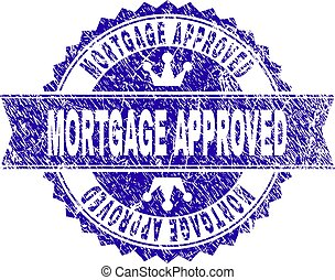 Grunge Textured MORTGAGE APPROVED Stamp Seal with Ribbon