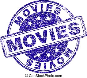 Grunge Textured MOVIES Stamp Seal