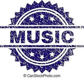 grunge, textured, musica, francobollo, sigillo