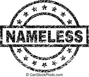 NAMELESS stamp seal watermark with distress style. Designed with rectangle, circles and stars. Black vector rubber print of NAMELESS caption with scratched texture.