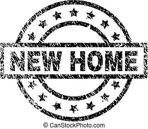 Grunge Textured NEW HOME Stamp Seal