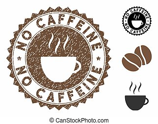 Grunge Textured No Caffeine Stamp Seal with Coffee Cup