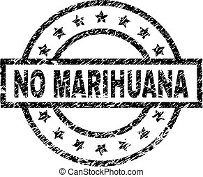 Grunge Textured NO MARIHUANA Stamp Seal