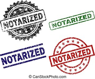 Grunge Textured NOTARIZED Seal Stamps