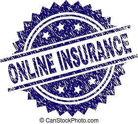 Grunge Textured ONLINE INSURANCE Stamp Seal