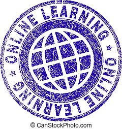 Grunge Textured ONLINE LEARNING Stamp Seal