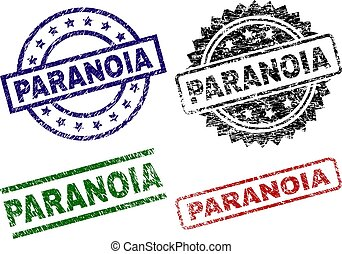 Grunge Textured PARANOIA Seal Stamps - PARANOIA seal prints...