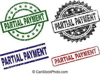 PARTIAL PAYMENT seal prints with corroded style. Black, green, red, blue vector rubber prints of PARTIAL PAYMENT title with unclean style. Rubber seals with circle, rectangle, medallion shapes.