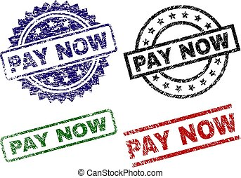 Grunge Textured PAY NOW Stamp Seals