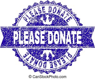 Grunge Textured PLEASE DONATE Stamp Seal with Ribbon