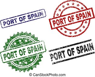 Grunge Textured PORT OF SPAIN Seal Stamps - PORT OF SPAIN...