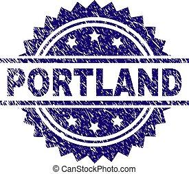 Grunge Textured PORTLAND Stamp Seal - PORTLAND stamp seal...