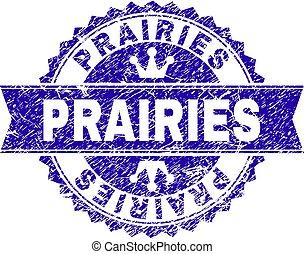 Grunge Textured PRAIRIES Stamp Seal with Ribbon