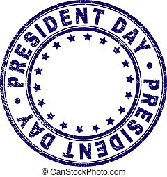 PRESIDENT DAY stamp seal watermark with distress texture. Designed with circles and stars. Blue vector rubber print of PRESIDENT DAY caption with unclean texture.