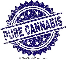 Grunge Textured PURE CANNABIS Stamp Seal
