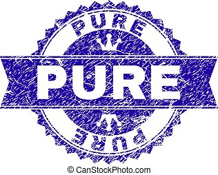 Grunge Textured PURE Stamp Seal with Ribbon