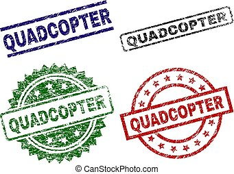 Grunge Textured QUADCOPTER Seal Stamps