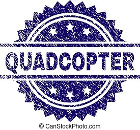 Grunge Textured QUADCOPTER Stamp Seal