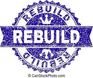 Grunge Textured REBUILD Stamp Seal with Ribbon