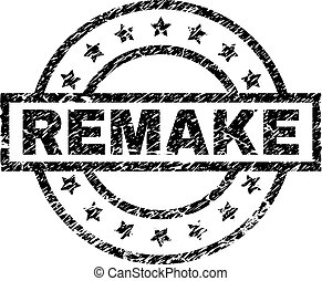 REMAKE stamp seal watermark with distress style. Designed with rectangle, circles and stars. Black vector rubber print of REMAKE caption with dirty texture.
