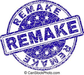 REMAKE stamp seal watermark with grunge texture. Designed with rounded rectangles and circles. Blue vector rubber print of REMAKE tag with grunge texture.