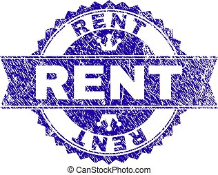 Grunge Textured RENT Stamp Seal with Ribbon