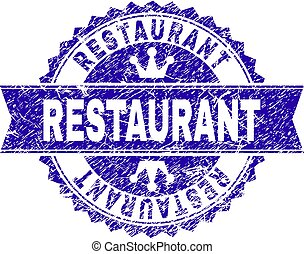 Grunge Textured RESTAURANT Stamp Seal with Ribbon
