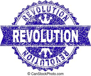Grunge Textured REVOLUTION Stamp Seal with Ribbon -...