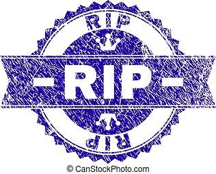 Grunge Textured RIP Stamp Seal with Ribbon